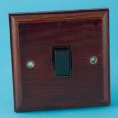 Varilight Kilnwood 1 Gang 1 or 2 Way 10A Rocker Switch Mahogany Black Insert XK1MB